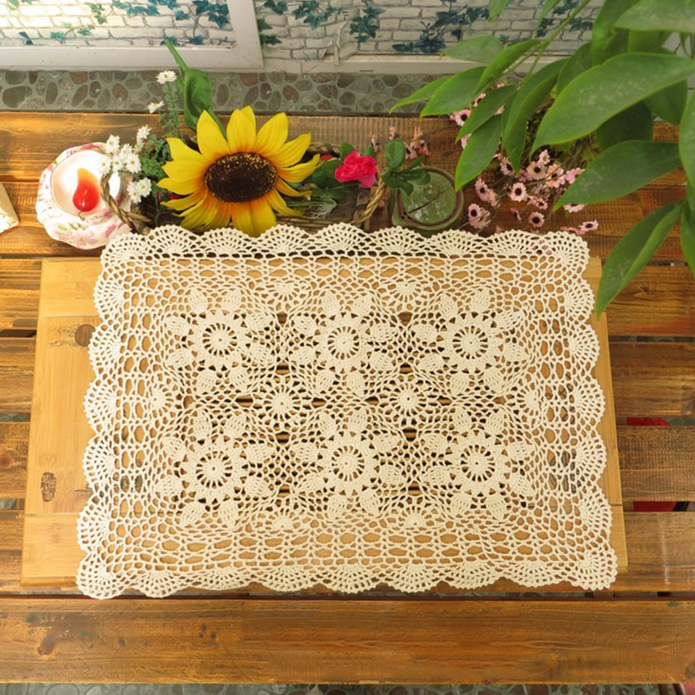 Handmade table mats design - Yazi Handmade Cotton Hollow Floral Placemat Thread Crochet Table Mat Table Cover Tablecloths 40x60cm