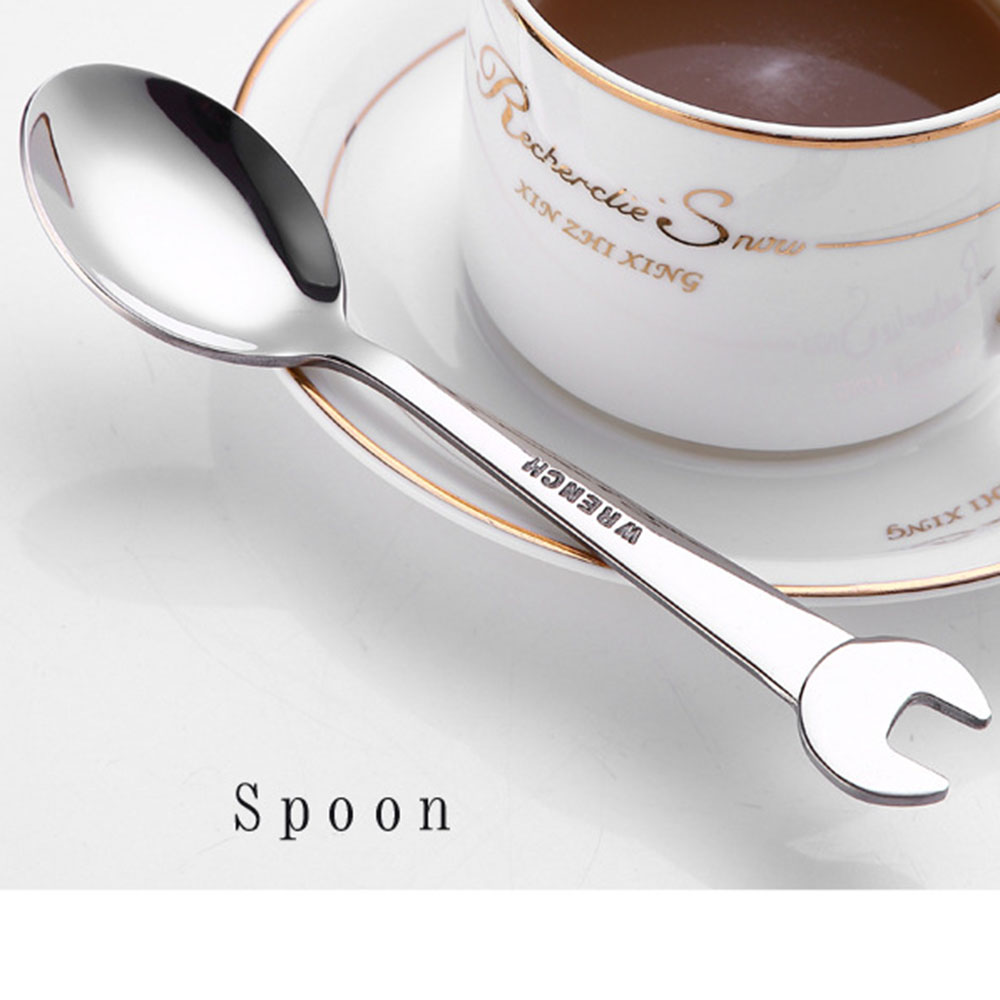 Creative Wrench Shape Tea Fork 304 Stainless Steel Dinner Spoon Coffee Cutlery Set Tableware Family Camping Kitchen Accessories in Forks from Home Garden