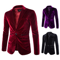 2016 New Arrival Mens Red Black Purple Corduroy Blazer Men Nice One Button Suit Jacket Slim Classic Autumn Winter Clothes