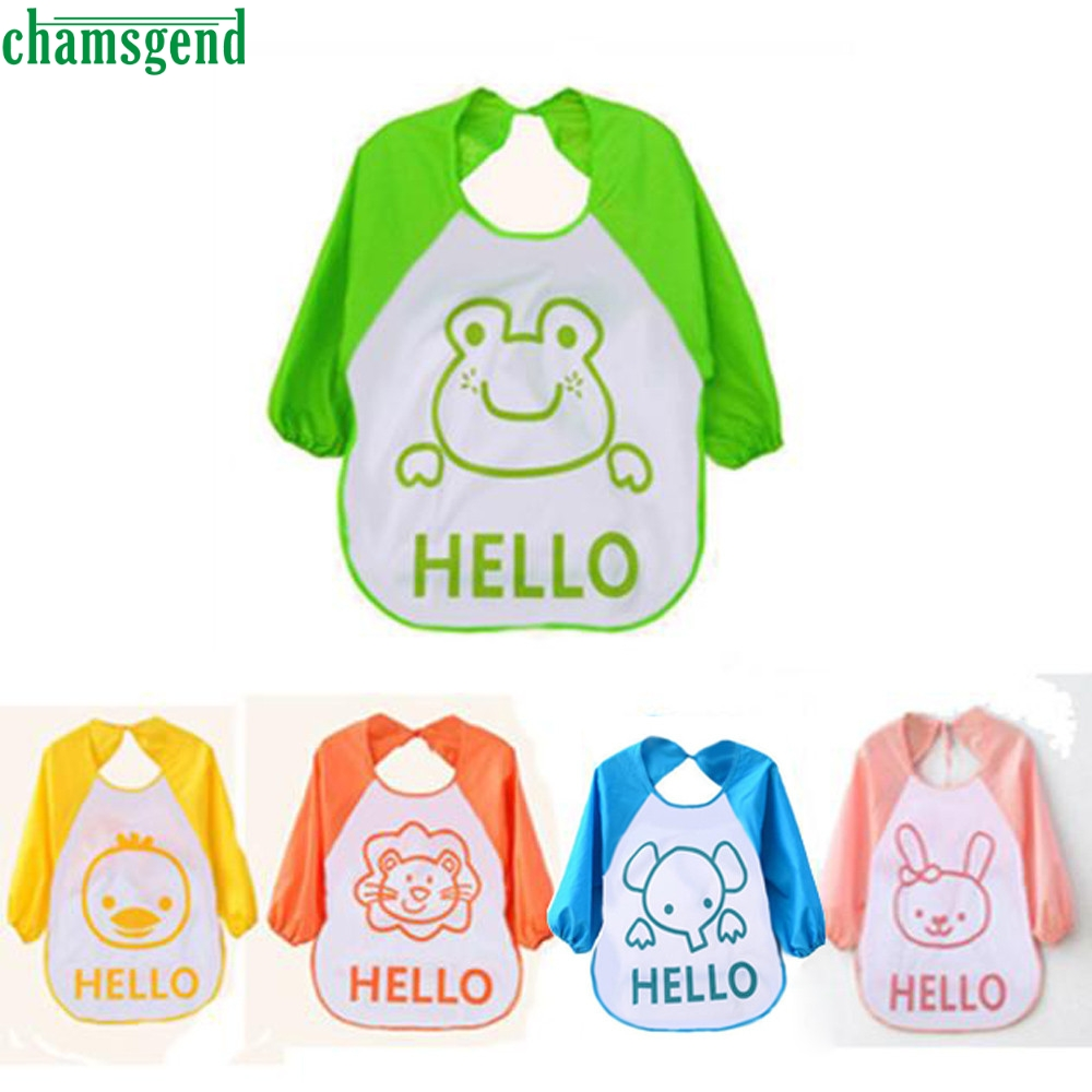 CHAMSGEND Kids Child Cartoon Translucent Plastic Soft Baby Waterproof Bibs drop shipping p30 may25