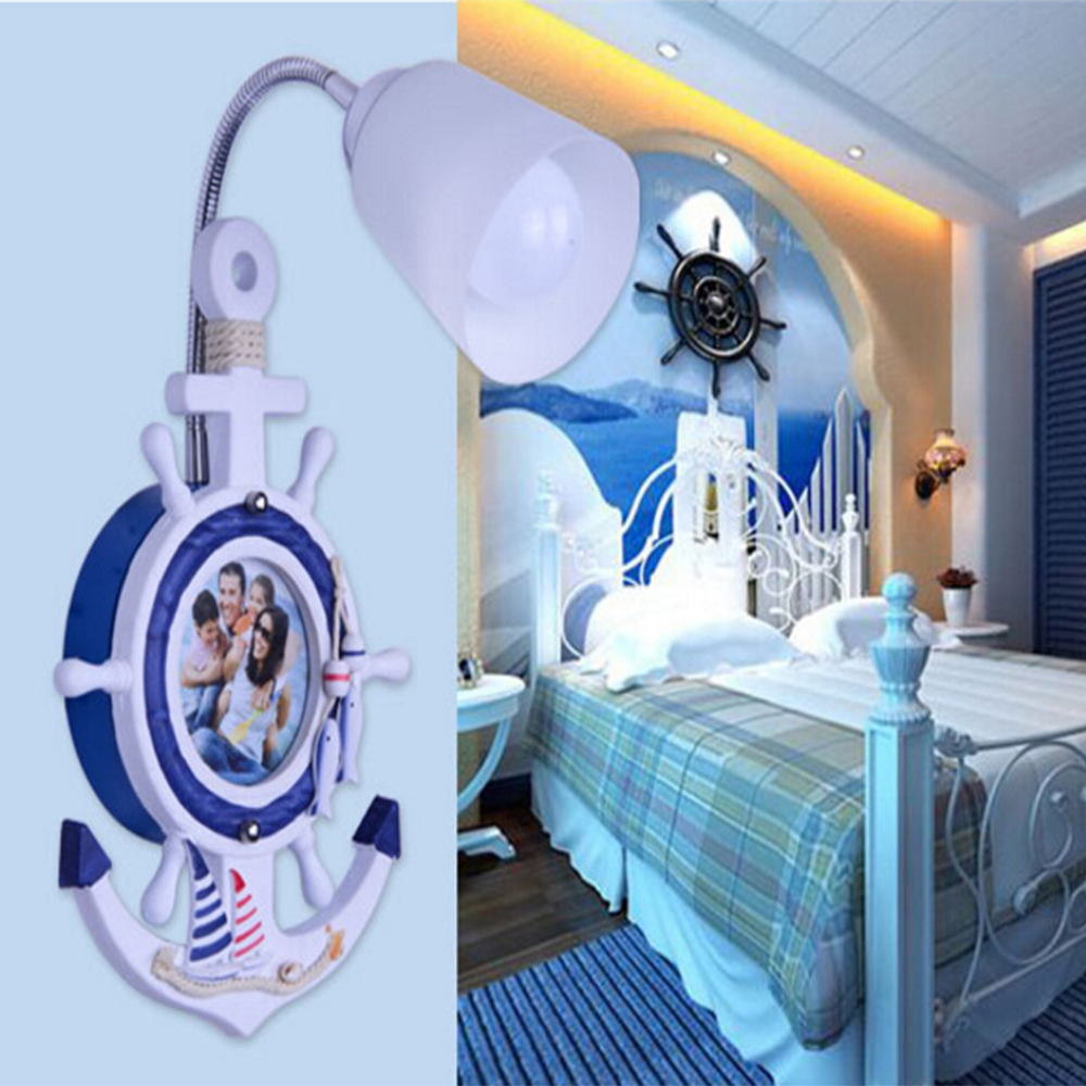 AC 110V-220V E27 Lamp Children Room Mediterranean Kids Wall Light Indoor Lighting Wood Bedroom Led Wall Lamp Sconce Wall Lights pagani design brand fashion ladies steel quartz women watch waterproof shell dial luxury dress watches relogio feminino