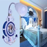 AC 110V 220V E27 Lamp Children Room Mediterranean Kids Wall Light Indoor Lighting Wood Bedroom Led Wall Lamp Sconce Wall Lights