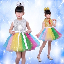 Girls Jazz Dance Latin Dance Ballet New Style Princess Dress Chorus Sequins Performance Costumes Colorful Tutu Costumes