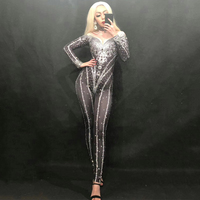 sexy Sparkly Crystals Nude Jumpsuit Stretch Stones Celebrate Bright Rhinestones Bodysuit Costume Singer Birthday costume woman