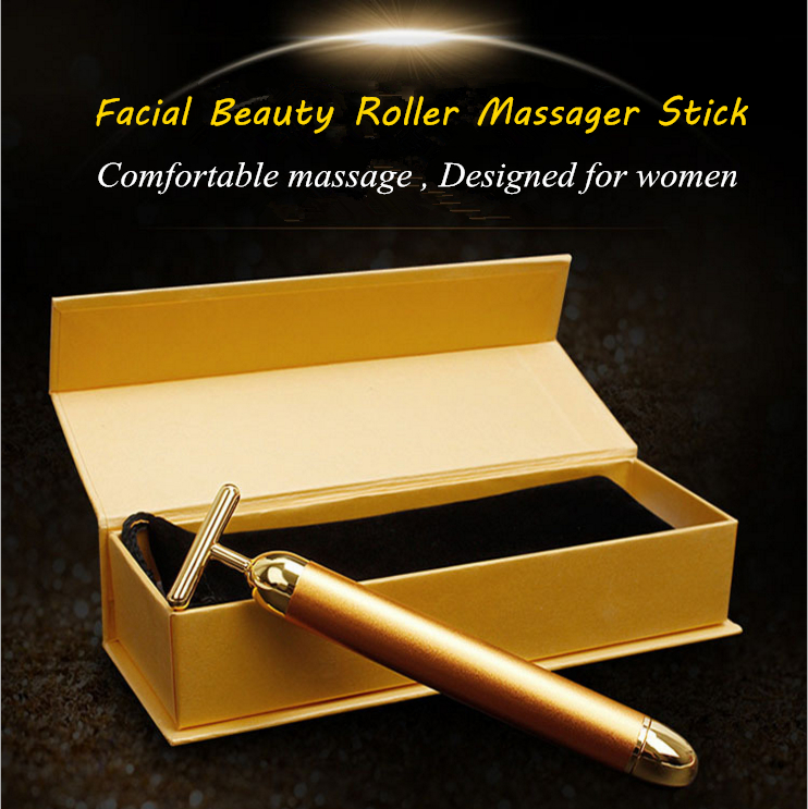 2017 Hot Vibration Face Care 24k Gold Vibration Facial Beauty Roller Massager Stick Anti Wrinkle Firming Pulling Massage Stick healthsweet 24k gold mini massage device electric eye massager facial vibration thin face magic stick anti bag pouch wrinkle pen