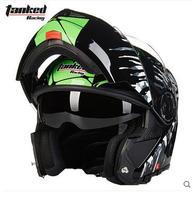 Tanked Racing Black Zebra Motorcycle Helmet Flip Up MOTO Open Face Dirt Biker Motorbike Motocross Off