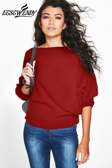 Batwing Long Sleeve Knitted Sweater Solid Color Pullover Sweater  2
