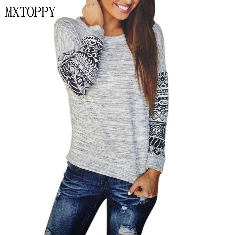 2018 Autumn Woman Sweater Pullover Woman Long Sleeve Sweater O-neck  Print Loose Shirt Thin  Female Printing Sleeve Sweater Tops