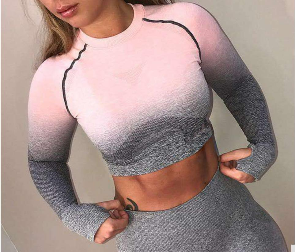 Women Ombre Gym Shirts Seamless Sports Tops Long Sleeve Fitness Crop Top  Workout Shirt Nylon Yoga Tight Tee strength training