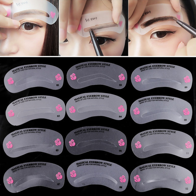 24 Pcs Reusable Eyebrow Stencil Set Eye Brow DIY Drawing Guide Shaping Grooming Template Card Easy Makeup Beauty Kit w S 2