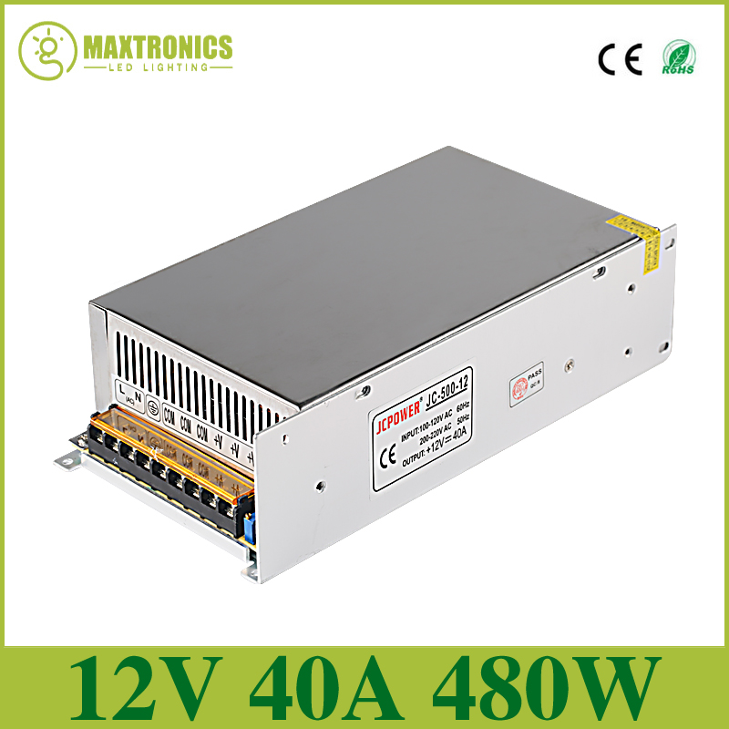 цена на Best quality 12V 40A 480W Switching Power Supply Driver for LED Strip AC 110-240V Input to DC 12V Free shipping