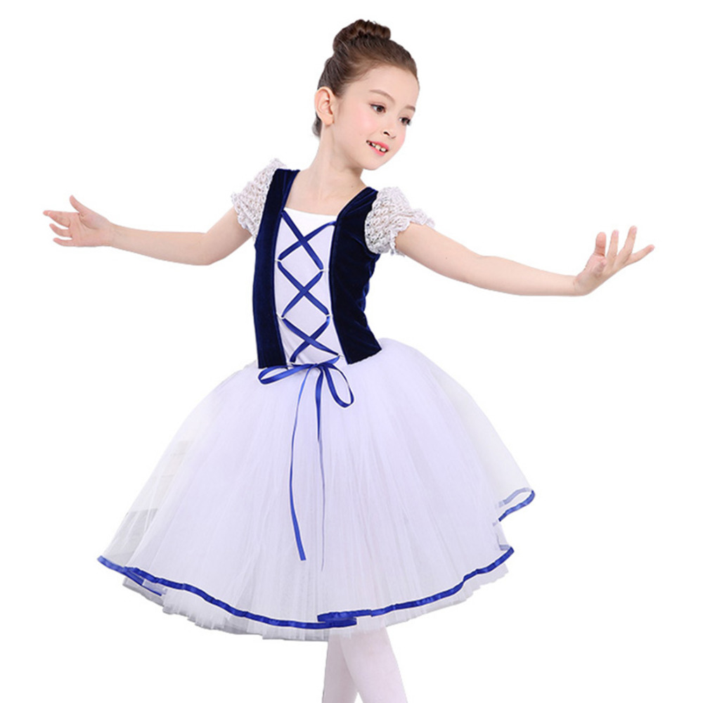 Kids Ballet Dress Girls Ballet Costume Tutu Child Party Leotards Ball Gown Dance Skate Dress White Ballerina Dancing Dress dora the explorer little girls ballet dance pajama set