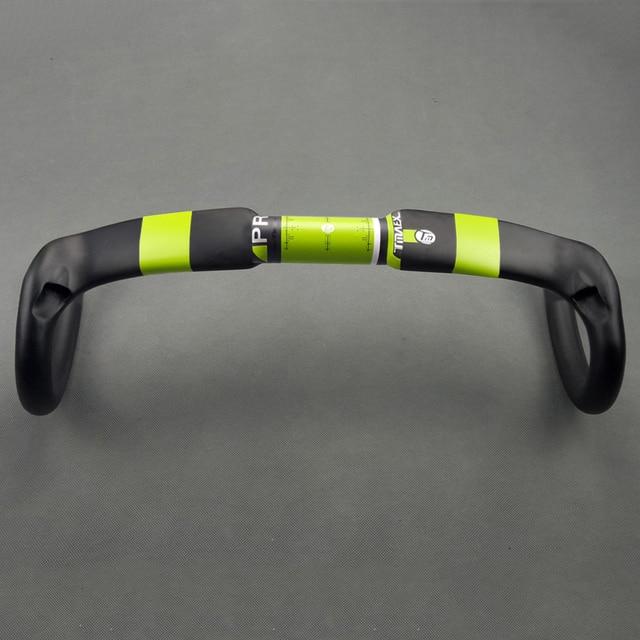 TMAEX Full Carbon Road Bike Handlebar Carbon Fiber Road Handlebars Cycling Parts Bend Bar 31.8mm Green Matte Ultralight Parts
