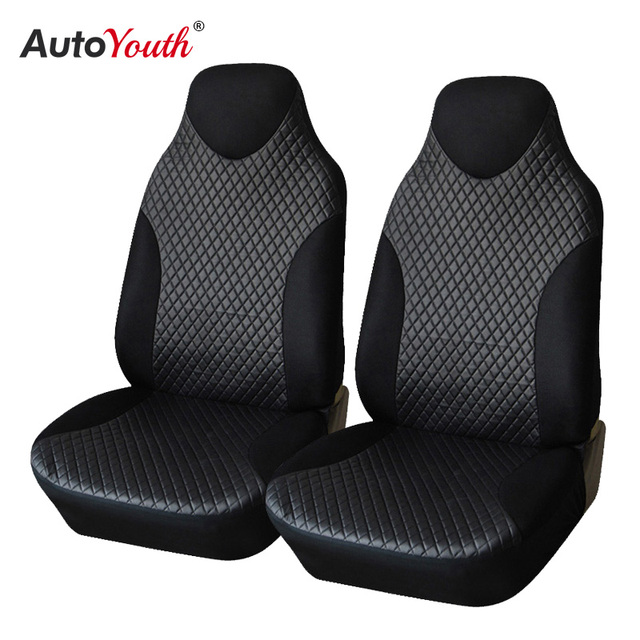 AUTOYOUTH Leatherette Car Seat Covers Universal Fit High Back Bucket Seat Cover Black 2pcs/set Car Interior Decoration