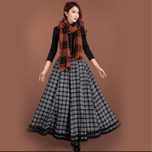Winter Long Skirt Women Fashion High Waist Women's Plaid Maxi Skirts Female Faldas Winter Skirt Elegant Saia Feminina C1288