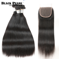 Black pearl Brazilian Straight Hair Bundles With Closure 4 Pcs Natural Color Hair Weave Remy Human Hair 3 Bundles With Closure