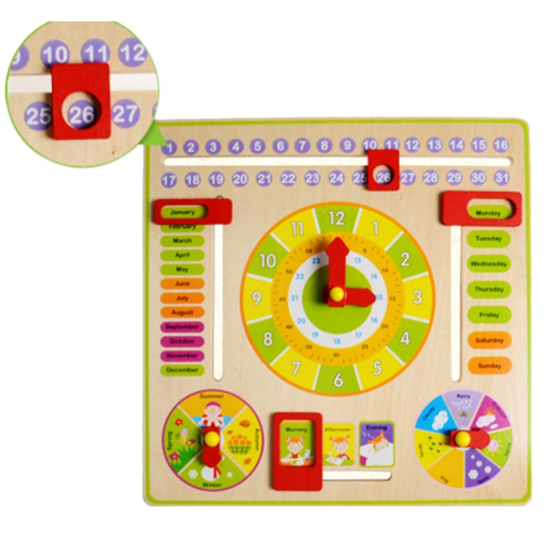 Wooden Learning Clock Children Baby Kids Learning Developmental Versatile Flap Abacus Wooden Educational Cock Tool Toys