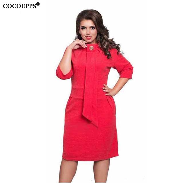 f96d34fa370 2018 Fashion Women Spring Summer Style Plus Large Big Size Dresses Necktie  Bodycon Dress Stand Neck Office Work Dress 5XL 6XL