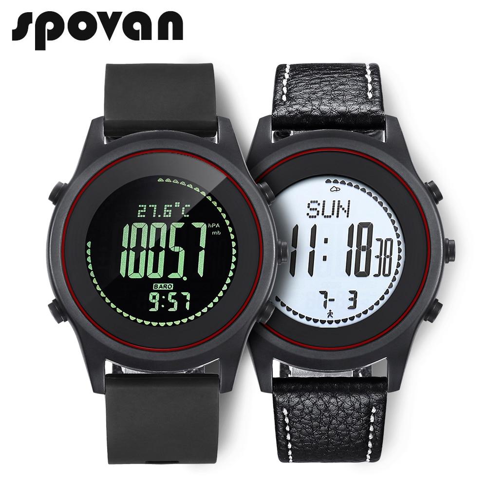 SPOVAN Beyond Sport Men's Watch, Thinnest Wrist Watch. Genuine Leather / Silica gel Watchband. Barometer Thermometer Altimeter