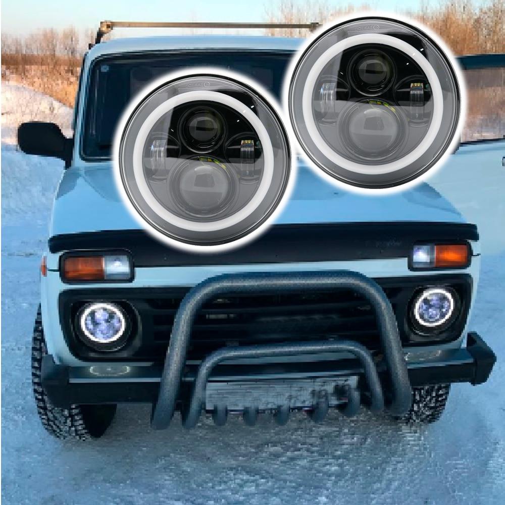Approuvé DOT 2X7 pouce LED Phares Noir W/Angel Eye Salut/Lo Faisceau Ambre Clignotants blanc Halo Anneau DRL Pour Lada 4x4 urbain Niva