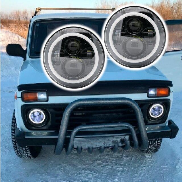 DOT Approved 2X 7Inch Led Headlights Black W/ Angel Eye Hi/Lo Beam Amber Turn Signal White Halo Ring DRL For Lada 4x4 urban Niva