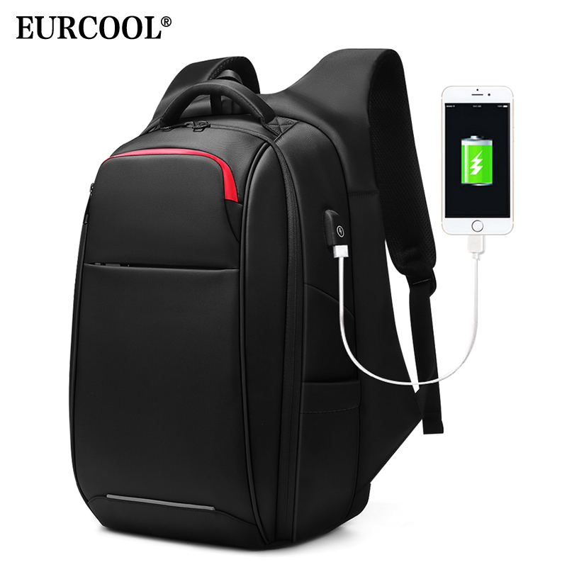 EURCOOL 15 6 inch Laptop Backpack Anti theft for Teenage Male Mochila Multifunction USB Charging Port