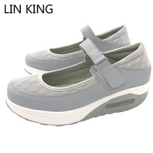 LIN KING New Air Mesh Women Swing Shoes Mixed Color Hook And Loop Platform Shoes Shallow Mouth Height Increase Comfortable Shoes