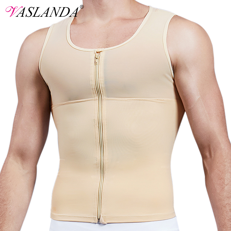 VASLANDA Mens Slimming Body Shaper Chest Compression Shirt Abs Abdomen Undershirt Gynecomastia Moobs Waist Trimmer Sweat Vest