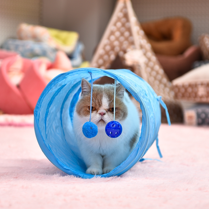 Pet Cat Tunnel Play Toys Crinkle With Ring Bell Kitten Play Toy Collapsible Colorful Bulk Cat Toys Rabbit Play Tunnel 2 Colors