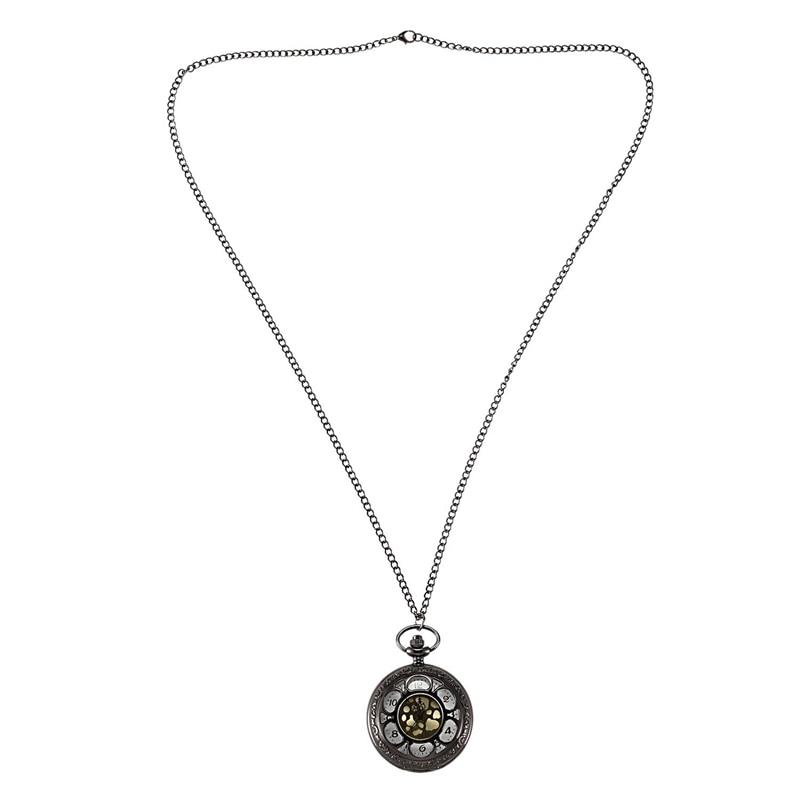 Black Petals Roman Numerals Retro Pendant Ladies Men's Gift Pocket Watch