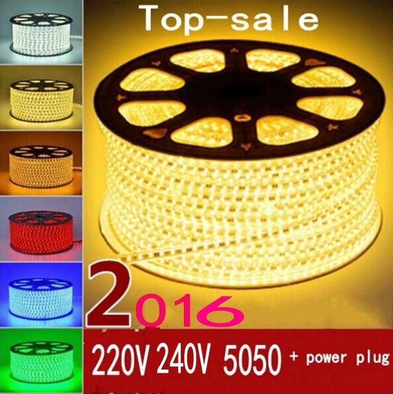 220V 240V SMD 5050 LED Strip Flexible Light 5m 10m 15m 20m 100m Warm White/White/RGB Switch Plug 60leds/m Waterproof Led Strips