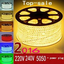 220V 240V SMD 5050 led strip flexible light 5m 10m 15m 20m 100m warm white/white/RGB Power plug 60leds/m waterproof led Strips