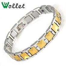 Wollet Fashion Jewelry Health Care Germanium Hematite Bio Magnet Gold Color Magnetic Tungsten Bracelet Men цена