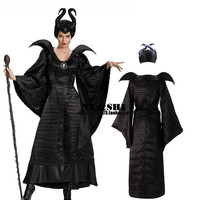 Free shipping Maleficent Crimea Angelina Jolie dark witch cosplay queen costume Christmas With Hat Halloween Costumes