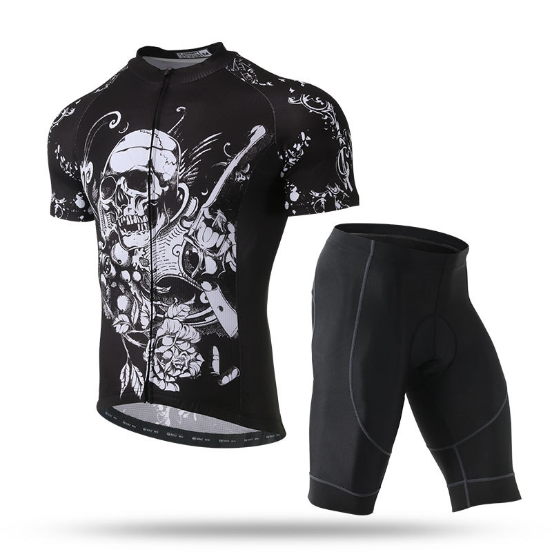 Mens 2018 New Jersey Short Sleeve Set Mens Bike Wear Summer Breathable quick-drying Sweat Wear Skull Style L101