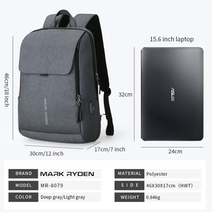 Image 5 - Mark Ryden Man Backpack USB Recharging 15.6 inch laptop School Bag For Boy Male Travel Mochila Waterproof