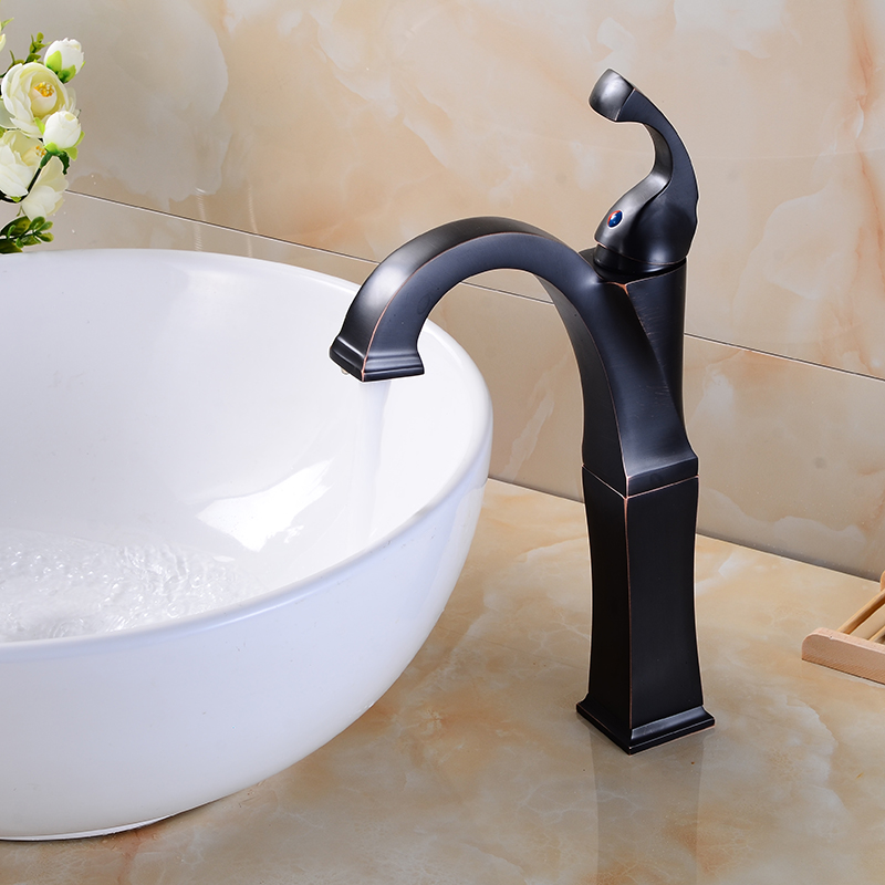 MEIFUJU Bathroom Waterfall Basin Faucet Tall Stand Basin Mixer Black Oil Rubbed Bronze Basin Faucets Sink Mixer Tap Chrome square bathroom sink faucet tall waterfall bathroom basin sink mixer tap oil rubble bronze black faucets
