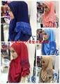 Hijab musulmán Tapa Interior Islámico Musulmán Hijabs Bufanda Bufandas de La nuevo Adultos Patterened Gasa 2016 Vestido de Encaje Caliente de Perforación Cabeza hilo