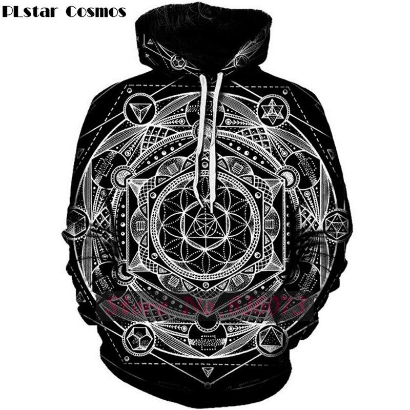 PLstar Cosmos 2018 new Fashion hoodies Psychedelic Trippy Visionary Hoodie Mayan Totem 3D Print Mens Womens hooded Sweatshirt