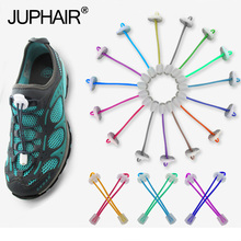 New 1 Pair Adult Child Colorful Locking Shoes Laces White Buckle Elastic Shoelaces Shoestrings Jogging Triathlon Sports Fitness