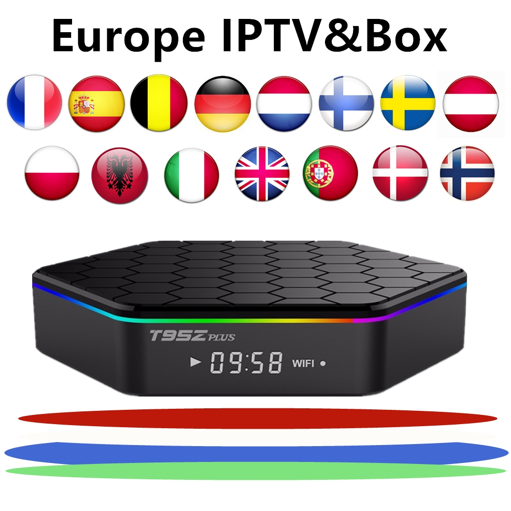 Android tv box 7 1 t95z plus amlogic s912 1 year Europe Spain French Sweden iptv