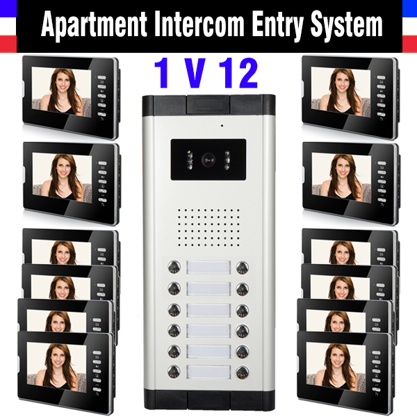 Apartment Intercom System 1V12 Units 7 Inch Monitor Video Intercom Doorbell Door Phone IR Night Version Camera doorphone kits my apartment