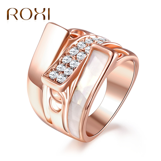 ROXI Fashion Drip Oil Rings for Women Rose Gold Color Crystal Ring Wedding Party