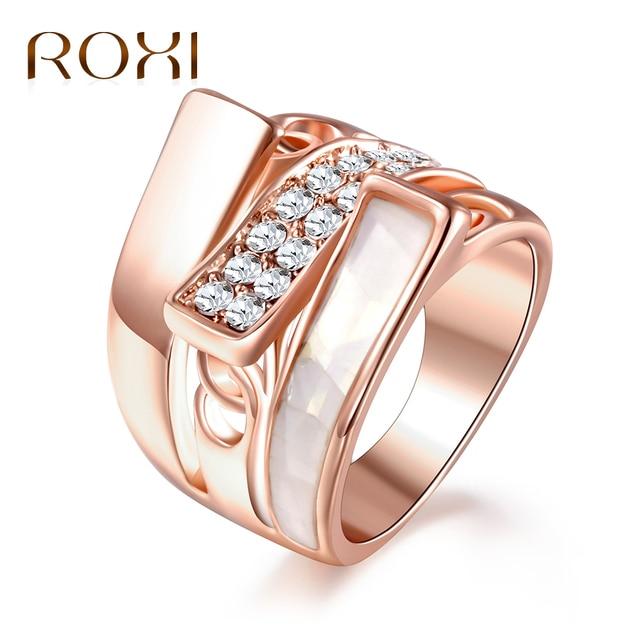 ROXI Moda Gocciolamento Dell'olio Anelli per le Donne Rosa Color Oro Anello di C