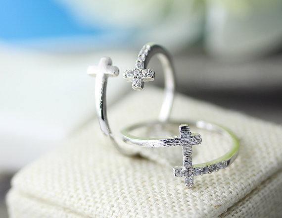 2016 New Fashion Jewelry Double Cross Cuff Finger Crystal Silver Ring For Women Stretch Girl Korean Simple Cool Wedding Rings ,