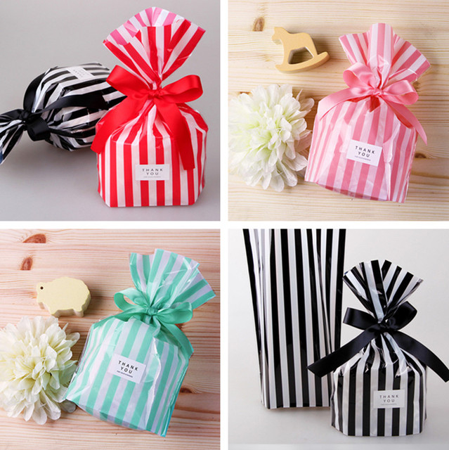 400 X Multi Color Plastic Striped Cookie Candy Gift Bags Not Adhesive Seal Package Bag Cellophane
