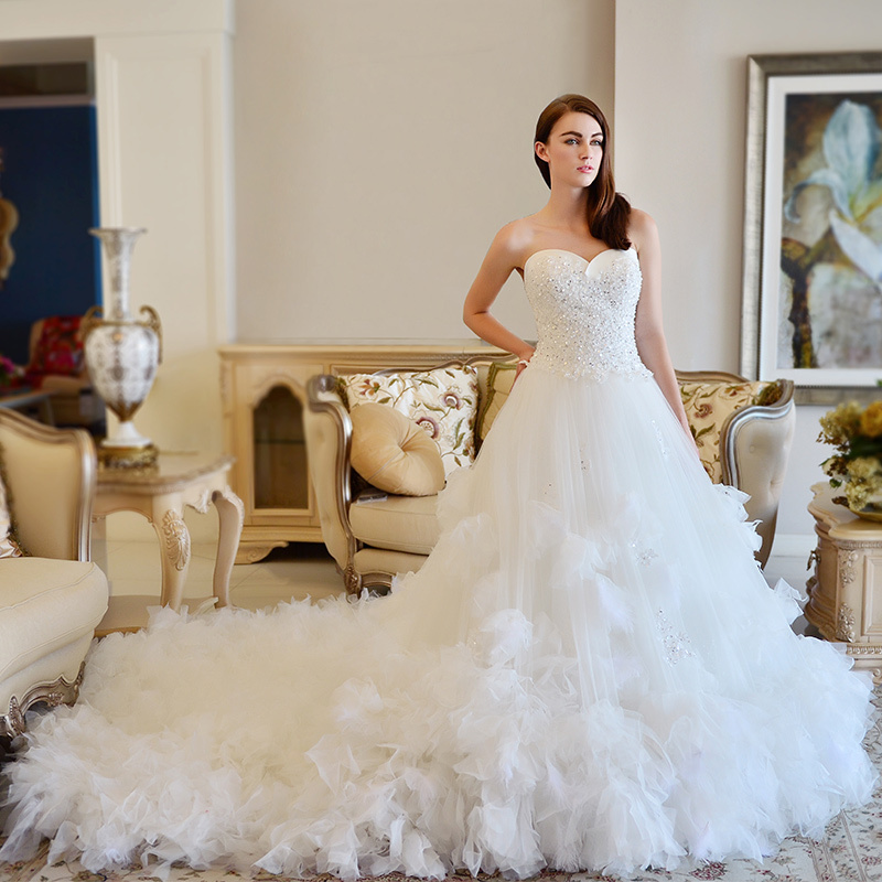 Mzyw0133 sweetheart décolleté perles de cristal rosette jupe robes de mariée en turquie(China (