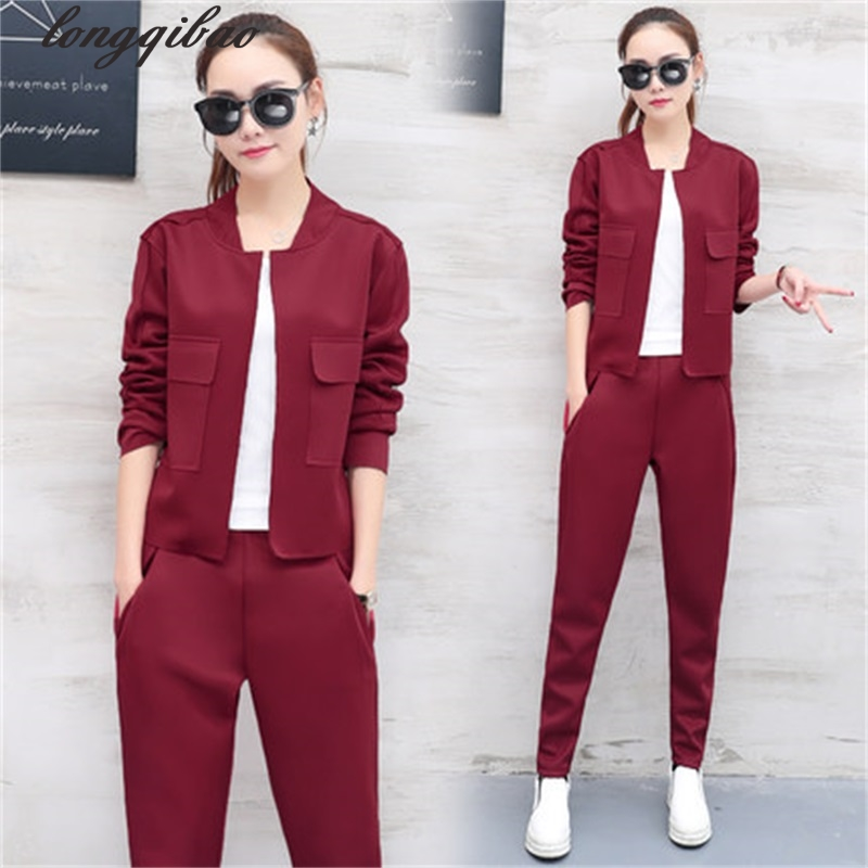 New 2017 spring and autumn women's fashion Slim long sleeved casual sportswear jacket + trousers two piece set TB