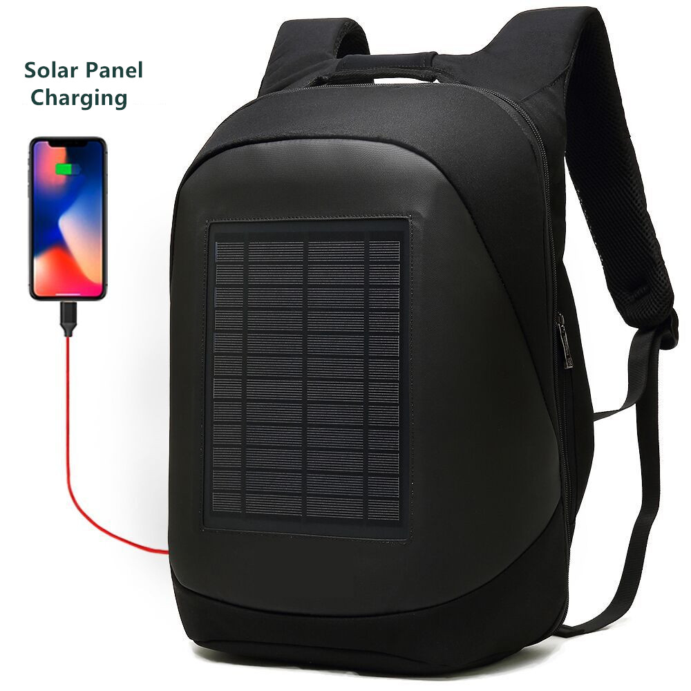 Solar Charging Backpack Men Businessmen Laptop Bag High-tec Back Packs Anti-theft Superior Pack Super Cool Different Distinctive