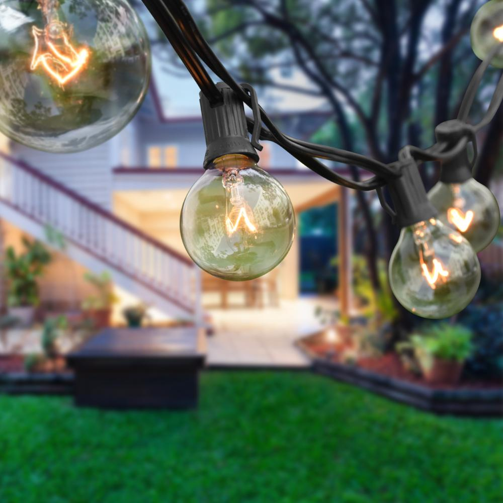 G40 Globe String Lights with 25 Clear Bulbs Hanging Indoor Christmas Lights Outdoor for Wedding Garland Fairy Lights Decoration